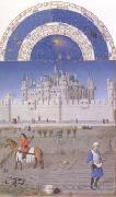 The medieval Louvre is in the background of the October calendar page (mk05), LIMBOURG brothers