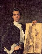 Portrait of the Artist Holding a Life Study, Melendez, Luis Eugenio