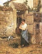 Mosler, Henry Peasant Girl and Doves oil painting on canvas