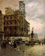 Nittis, Giuseppe de The Place des Pyramides oil painting