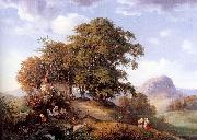 Oehme, Ernst Ferdinand An Autumn Afternoon near Bilin in Bohemia oil painting