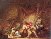 Ostade, Adriaen van Drinking Figures and Crying Children oil painting