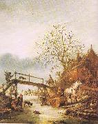 Ostade, Isaack Jansz. van A Winter Scene with an Inn oil painting