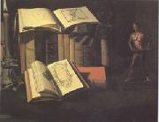 Still Life with Books Candle and Bronze Statue (mk05), Sebastian Stoskopff