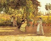 Sylvestro Lega The Pergola oil painting