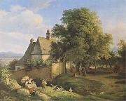 Church at Graupen in Bohemia (mk09), Adrian Ludwig Richter