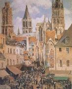 Camille Pissarro The Old Marketplace in Rouen and the Rue de I'Epicerie (mk09) oil painting on canvas