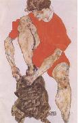 Egon Schiele Female Model in Bright Red Jacket and Pants (mk09) oil painting on canvas