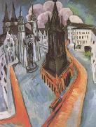 Ernst Ludwig Kirchner The Red Tower in Halle (mk09) oil painting