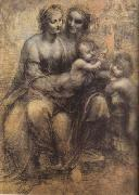 LEONARDO da Vinci Virgin and Child with St Anne and St John the Baptist (mk08) oil painting artist