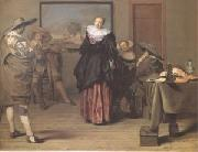 Lambert  Jacobsz The Dancing Lesson (mk05) oil painting on canvas