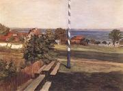 Leibl, Wilhelm Landscape with Flagpole (mk09) oil painting artist