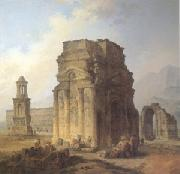 ROBERT, Hubert Triumphal Arch and Amphitheater at Orange (mk05) oil painting on canvas