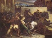 Theodore   Gericault Race of Wild Horses at Rome (mk05) oil painting artist