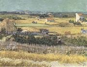 Harvest at La Crau,with Montmajour in the Background (Blue Cart) (mk09), Vincent Van Gogh