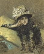 Pastel Portraits such as Berthe and his La Femme a Paris series represent Tissot's final works before his religious conversion (nn01), James Tissot