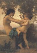 Young Girl Defending Herself against Eros (mk26), Adolphe William Bouguereau