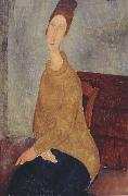 Jeanne Hebuterne with Yellow Sweater (mk39), Amedeo Modigliani