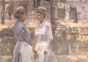 Isaac Israels Amsterdam Serving Girls on the Gracht (nn02) oil painting