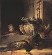 Still life with two dead Peacocks and a Girl (mk33), REMBRANDT Harmenszoon van Rijn
