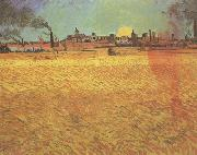 Sunset:Wheat Fields near Arles (nn04), Vincent Van Gogh