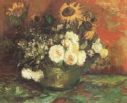 Bowl with Sunflowers,Roses and other Flowers (nn040, Vincent Van Gogh