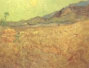 Wheat Fields with Reaper at Sunrise (nn04), Vincent Van Gogh