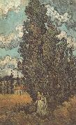 Vincent Van Gogh Cypresses and Two Women (nn04) oil painting reproduction