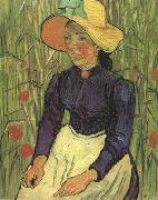 Young Peasant Woman with Straw Hat Sitting in the Wheat (nn04), Vincent Van Gogh