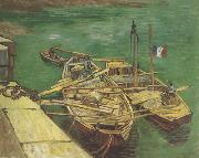 Quay with Men Unloading Sand Barges (nn04), Vincent Van Gogh