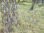 Pine Trees and Dandelions in the Garden of Saint-Paul Hospital (nn04), Vincent Van Gogh