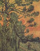 Pine Trees against a Red Sky with Setting Sun (nn04), Vincent Van Gogh