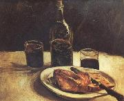 Still life with a Bottle,Two Glasses Cheese and Bread (nn04), Vincent Van Gogh