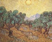 Olive Trees with Yellow Sky and Sun (nn04), Vincent Van Gogh