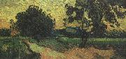 Landscape with thte Chateau of Auvers at Sunset nn04), Vincent Van Gogh