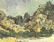 Mountains at Saint-Remy with Dark Cottage (nn04), Vincent Van Gogh