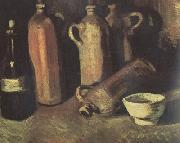 Still Life with Four Stone Bottles,Flask and White Cup (nn04), Vincent Van Gogh