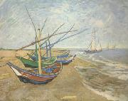 Fishing Boats on the Beach at Saintes-Maries (nn04), Vincent Van Gogh