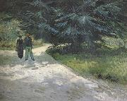 Public Garden with Couple and Blue Fir Tree :The Poet's Garden III (nn04)