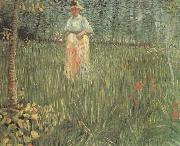A Woman Walking in a Garden (nn04), Vincent Van Gogh