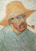 Self-Portrait with Pipe and Straw Hat (nn04), Vincent Van Gogh