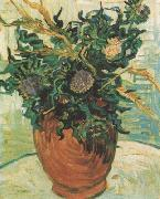 Still life:Vase with Flower and Thistles (nn04), Vincent Van Gogh