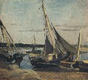 Trouville Fishing Boats Stranded in the Channel (mk40)