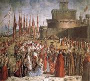 CARPACCIO, Vittore Scenes from the Life of St Ursula:The Pilgrims are met by Pope Cyriacus in front of the Walls of Rome oil painting reproduction