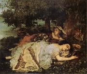 Gustave Courbet Young Women on the Banks of the Seine oil painting reproduction
