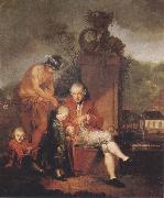 Januarius Zick Gottfried Peter de Requile with his two sons and Mercury oil painting