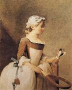 Jean Baptiste Simeon Chardin Girl with a Racquer and Shuttlecock