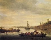 Saloman van Ruysdael The Crossing at Nimwegen oil painting