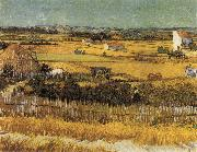 Harvest at La Crau,with Montmajour in the Background, Vincent Van Gogh