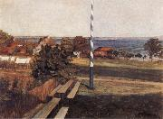 Wilhelm Trubner Landscape with Flagpole oil painting